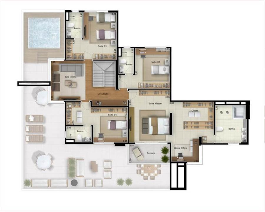 Cobertura Bay View 421 m² (pavimento superior) | Mirage Bay – Apartamentoem  Umarizal  - Belém - Pará