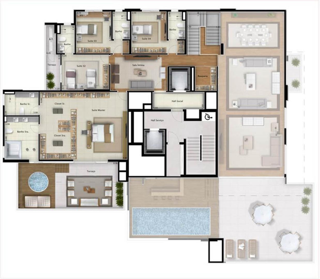 Cobertura Double View 551 m² (pavimento superior) | Mirage Bay – Apartamento em  Umarizal  - Belém - Pará