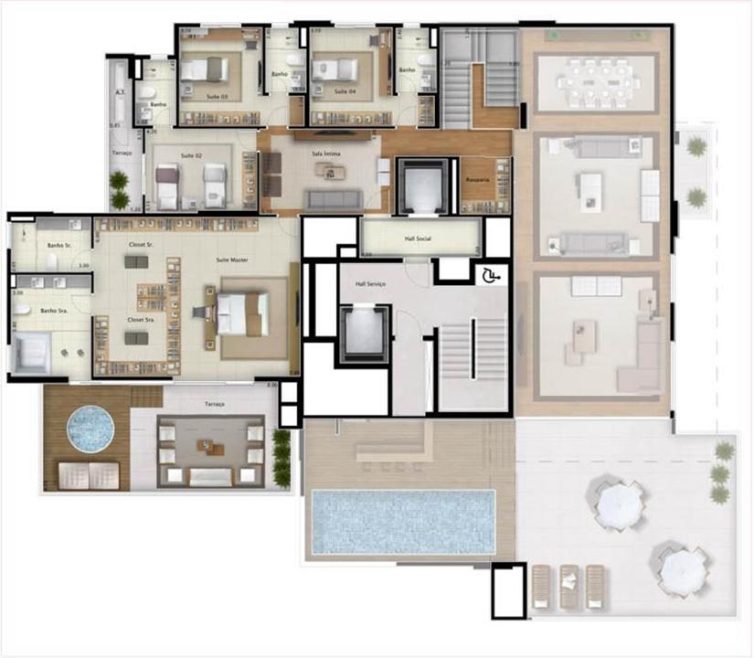 Cobertura Double View 551 m² (pavimento superior) | Mirage Bay – Apartamentoem  Umarizal  - Belém - Pará