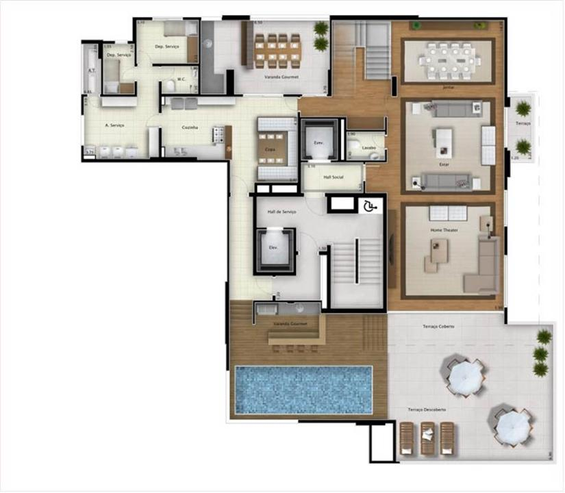 Cobertura Double View 551m² (pavimento inferior) | Mirage Bay – Apartamentoem  Umarizal  - Belém - Pará