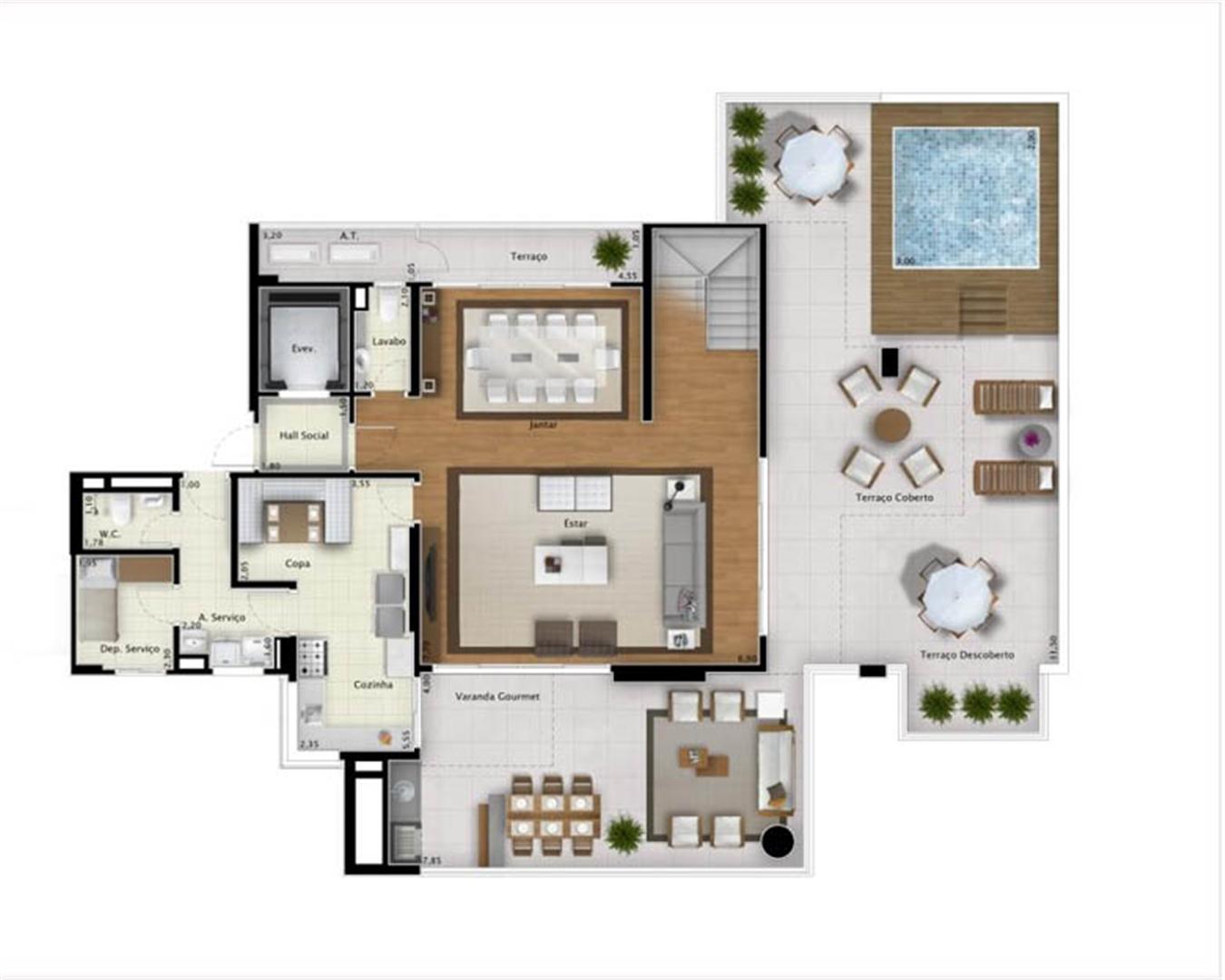 Cobertura Sky View 351 m² (pavimento inferior) | Mirage Bay – Apartamento em  Umarizal  - Belém - Pará