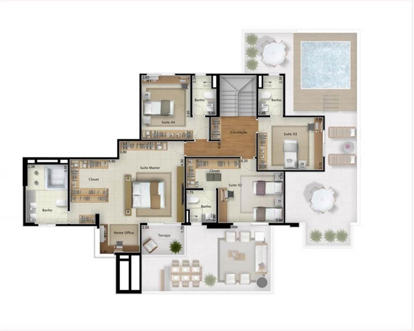 Cobertura Sky View 351 m² (pavimento superior) | Mirage Bay – Apartamento em  Umarizal  - Belém - Pará