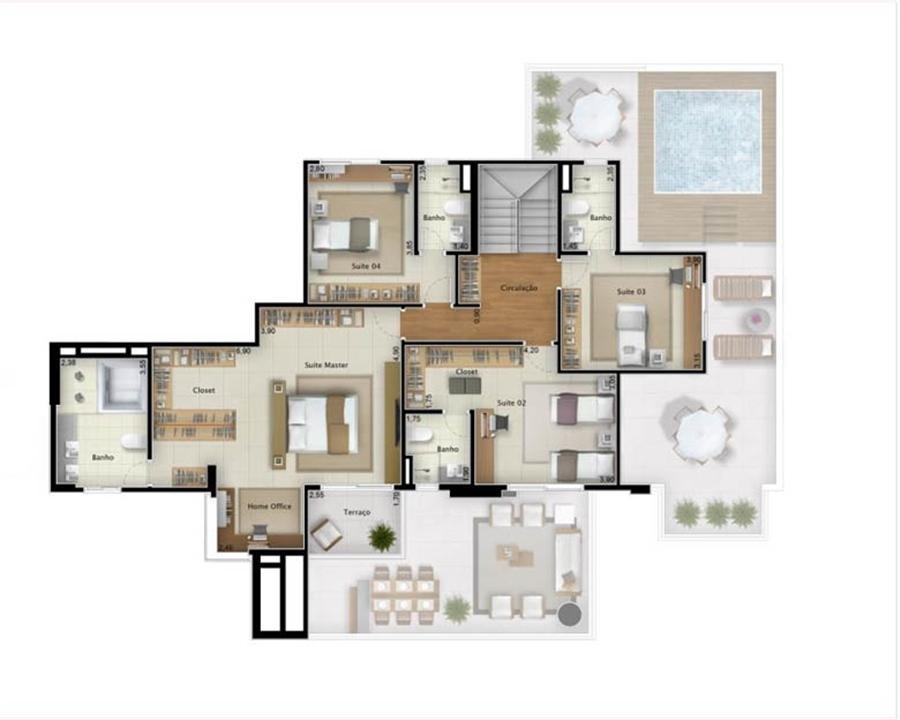 Cobertura Sky View 351 m² (pavimento superior) | Mirage Bay – Apartamentoem  Umarizal  - Belém - Pará