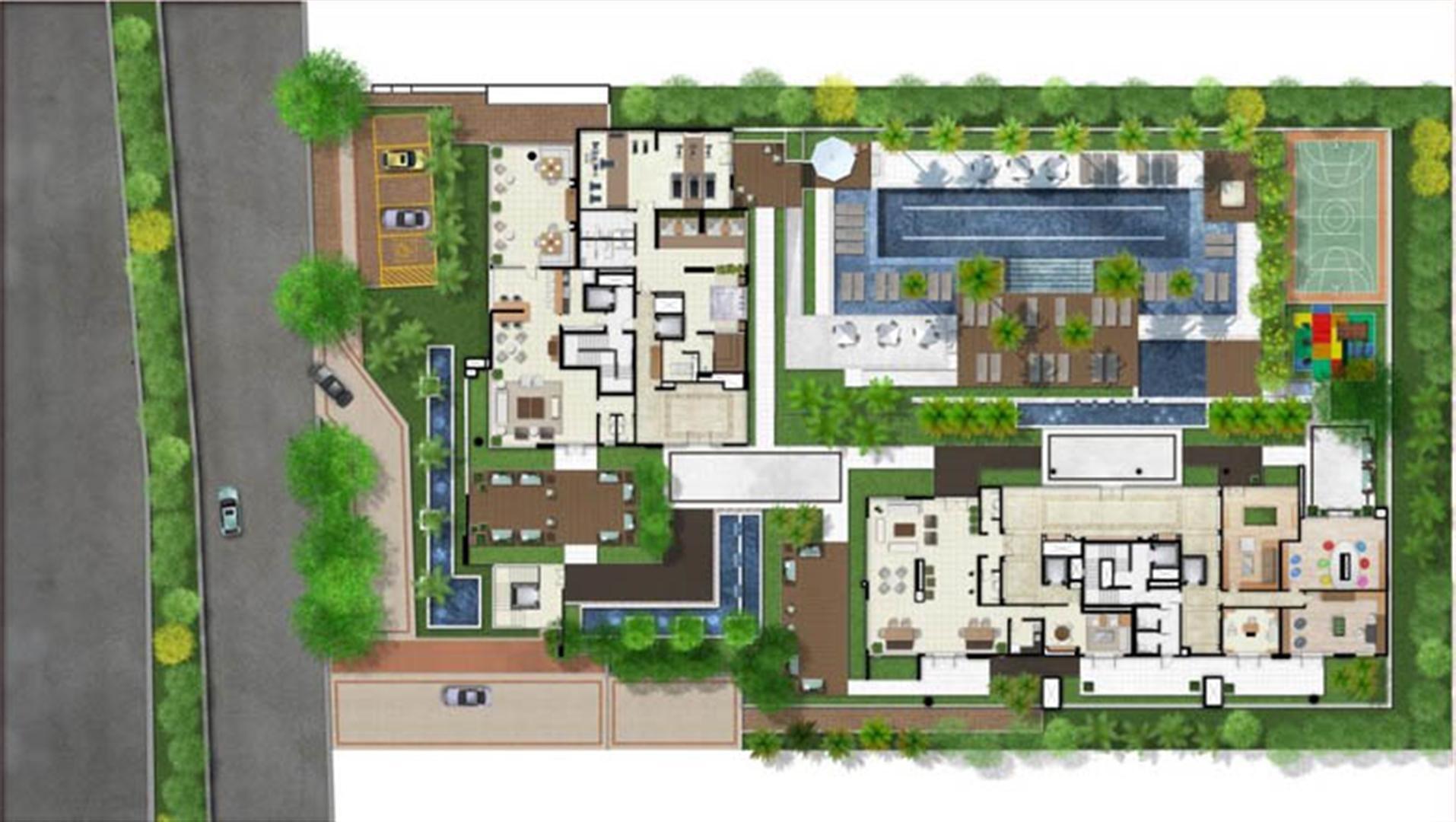 Perspectiva ilustrada da implantação | Mirage Bay – Apartamento em  Umarizal  - Belém - Pará
