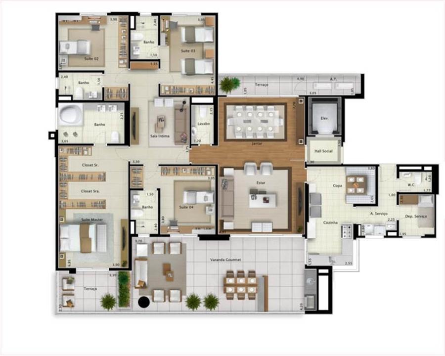 Planta apartamento Bay View 265 m² | Mirage Bay – Apartamentoem  Umarizal  - Belém - Pará