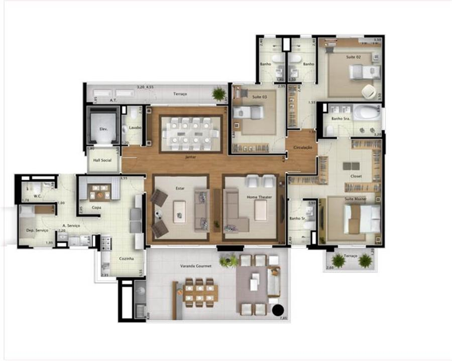 Planta apartamento Sky View 225 m² (ampliada) | Mirage Bay – Apartamentoem  Umarizal  - Belém - Pará
