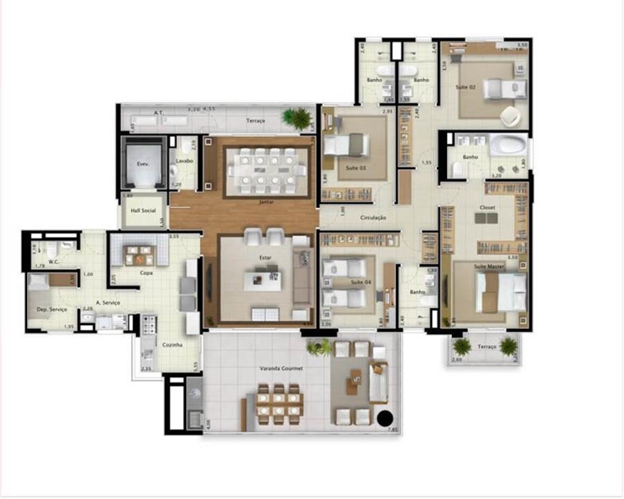 Planta apartamento Sky View 225 m² | Mirage Bay – Apartamentoem  Umarizal  - Belém - Pará