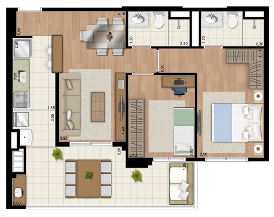 Planta Apartamento de 68 m² privativos com 2 dorms. | Le Champ – Apartamentono  Belém - São Paulo - São Paulo