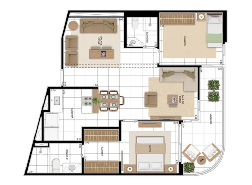 PLANTA - APTO TIPO A - 82 m² - OPÇÃO 02 DORMS COM SUÍTE - KIT BANHO  | In Mare Bali – Apartamentono  Distrito Litoral de Cotovelo - Parnamirim - Rio Grande do Norte