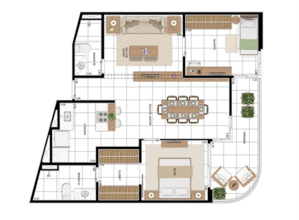 PLANTA - APTO TIPO A - 82 m² - OPÇÃO 2 DORMS COM SUÍTE (01)  | In Mare Bali – Apartamentono  Distrito Litoral de Cotovelo - Parnamirim - Rio Grande do Norte