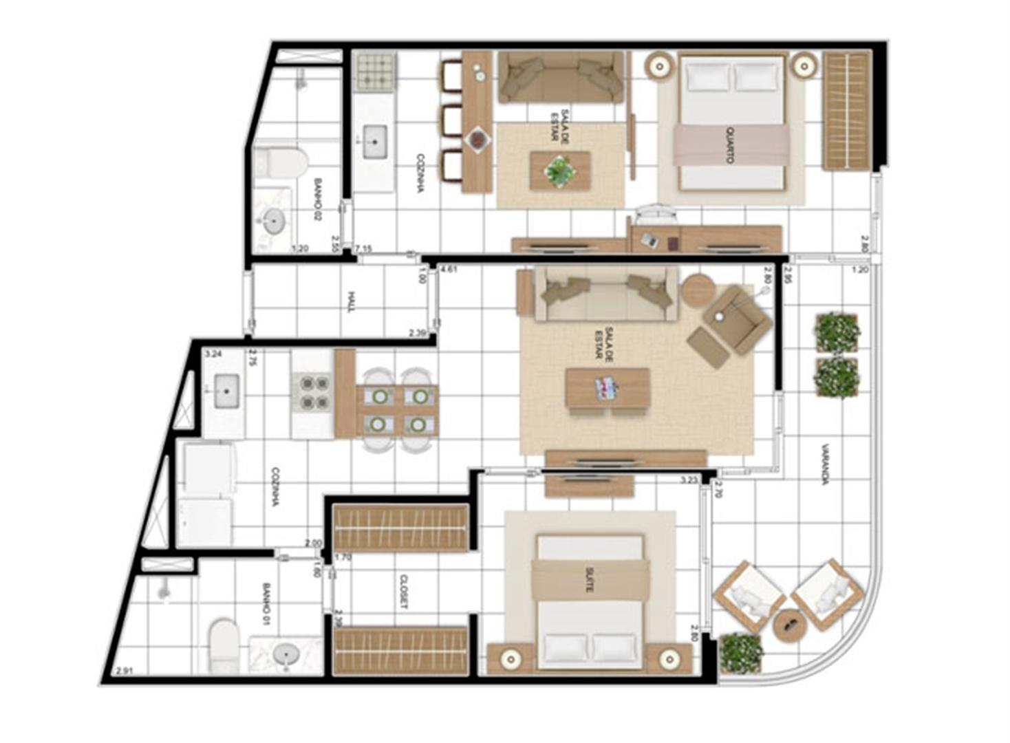 PLANTA - APTO TIPO A - DOUBLE FLAT OPÇÃO 03  | In Mare Bali – Apartamento no  Distrito Litoral de Cotovelo - Parnamirim - Rio Grande do Norte
