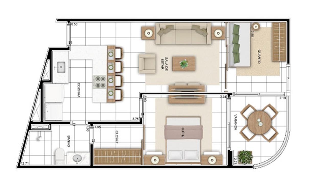 PLANTA - APTO TIPO C - 56 m² OPÇÃO 01  | In Mare Bali – Apartamentono  Distrito Litoral de Cotovelo - Parnamirim - Rio Grande do Norte