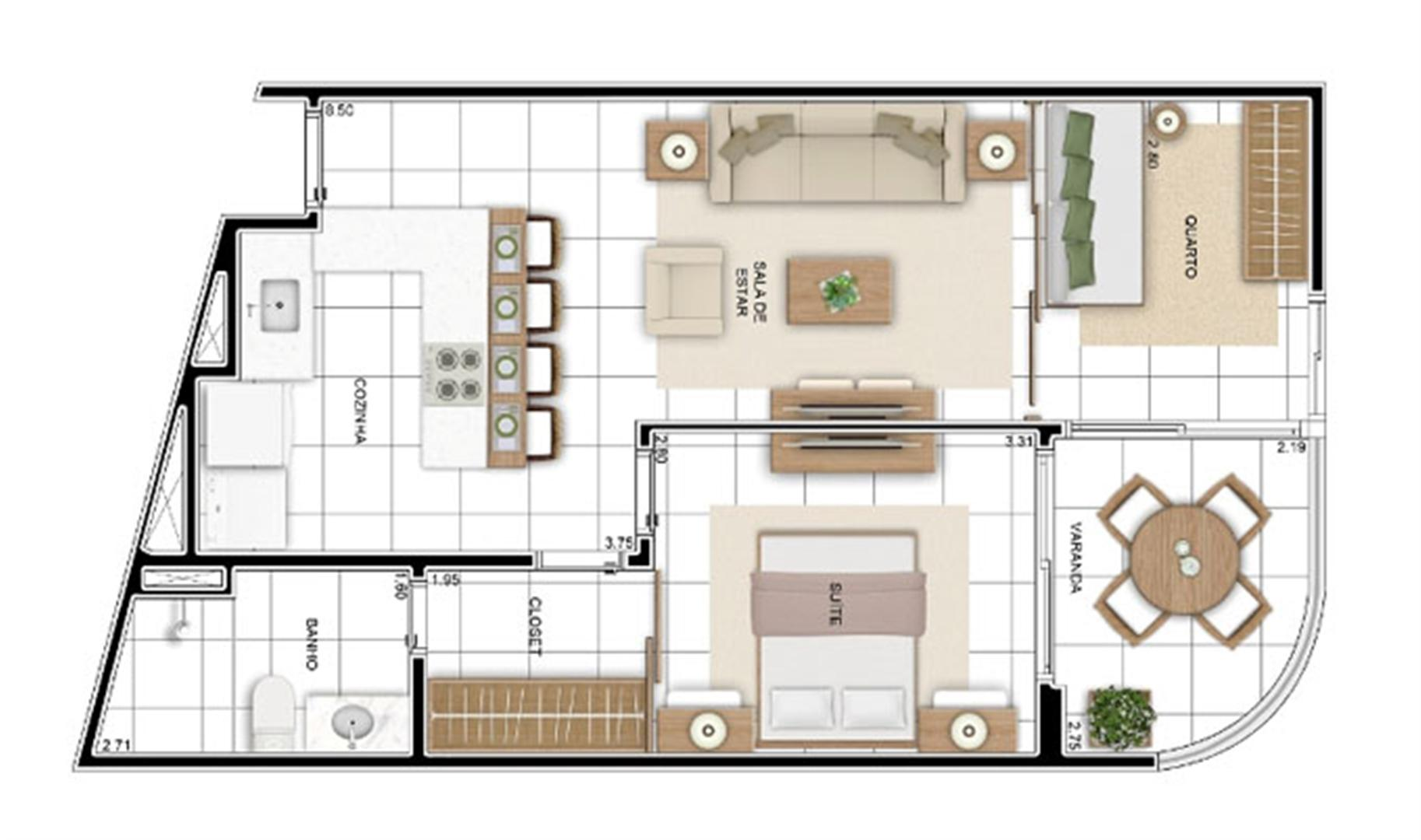 PLANTA - APTO TIPO C - 56 m² OPÇÃO TIPO  | In Mare Bali – Apartamento no  Distrito Litoral de Cotovelo - Parnamirim - Rio Grande do Norte