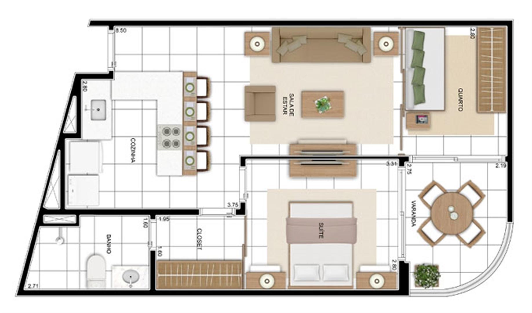 PLANTA - APTO TIPO C1 - 57 m²  | In Mare Bali – Apartamento no  Distrito Litoral de Cotovelo - Parnamirim - Rio Grande do Norte