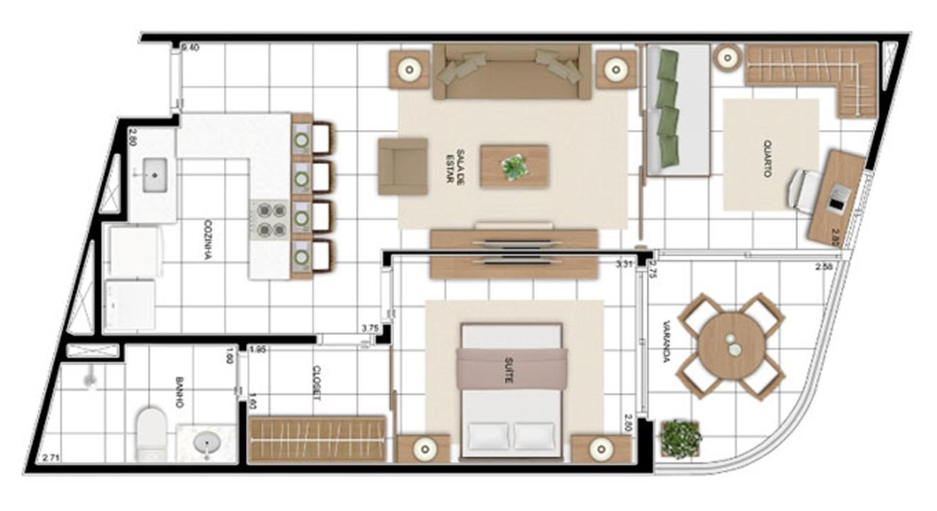 PLANTA - APTO TIPO C2 - 59 m²  | In Mare Bali – Apartamentono  Distrito Litoral de Cotovelo - Parnamirim - Rio Grande do Norte