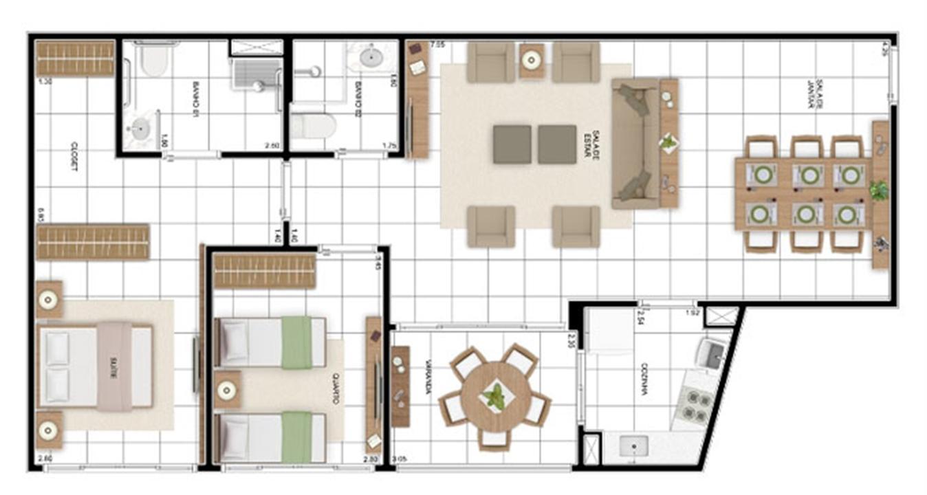 PLANTA - APTO TIPO D - 95 m² (ADAPTADA PARA PNE)  | In Mare Bali – Apartamentono  Distrito Litoral de Cotovelo - Parnamirim - Rio Grande do Norte