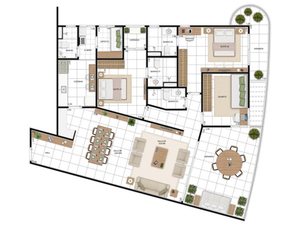 PLANTA - APTO TIPO E - 157 m²  | In Mare Bali – Apartamentono  Distrito Litoral de Cotovelo - Parnamirim - Rio Grande do Norte