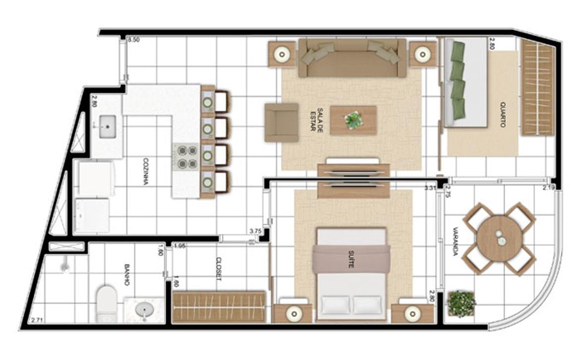 PLANTA - APTO TIPO OPÇÃO C3 - 56 m²  | In Mare Bali – Apartamentono  Distrito Litoral de Cotovelo - Parnamirim - Rio Grande do Norte