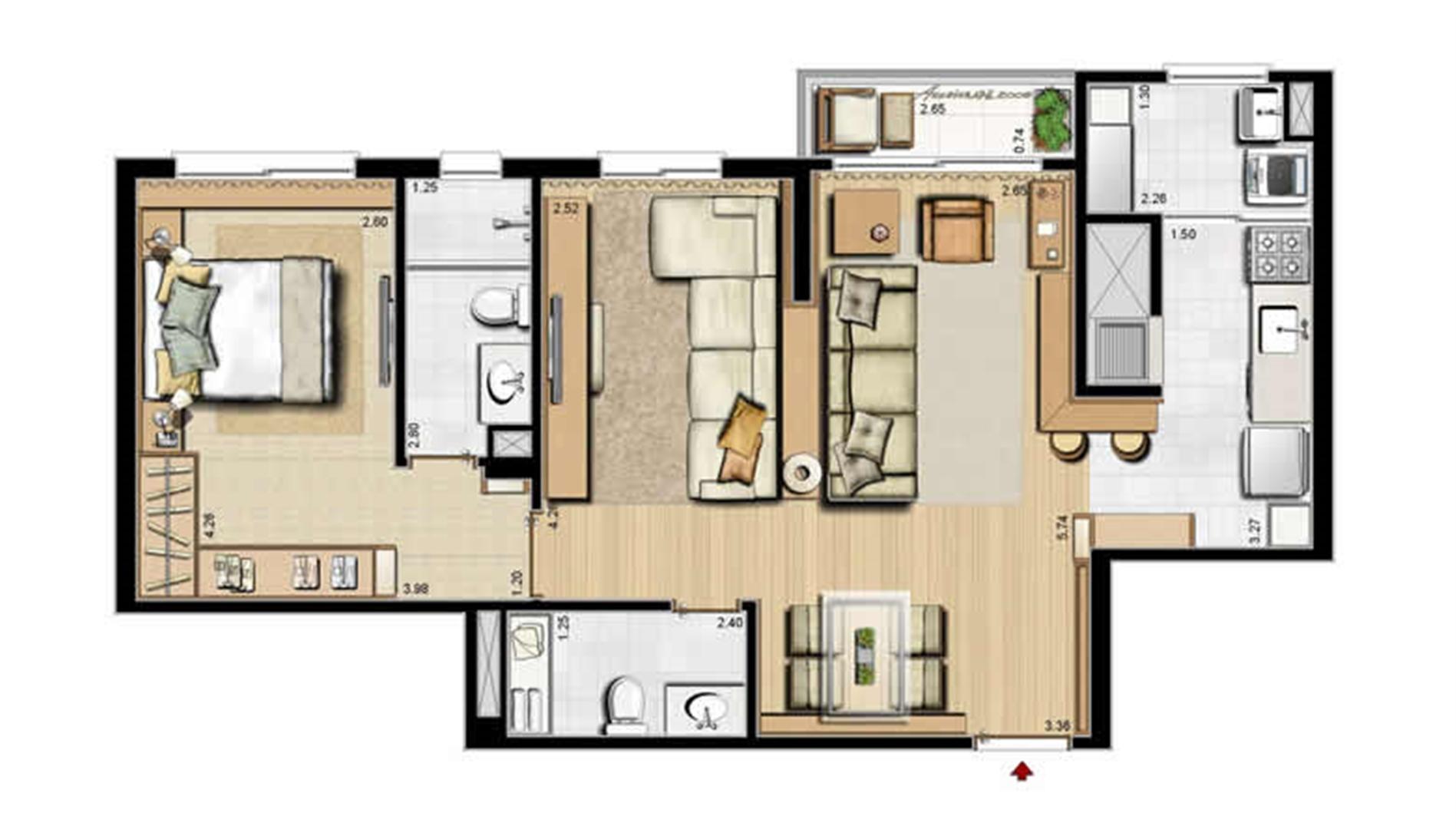 Opção 1 suíte, living estendido e lavabo - 68 m² privativos e 105 m² área total | Villa Mimosa Vita Insolaratta – Apartamento no  Centro - Canoas - Rio Grande do Sul