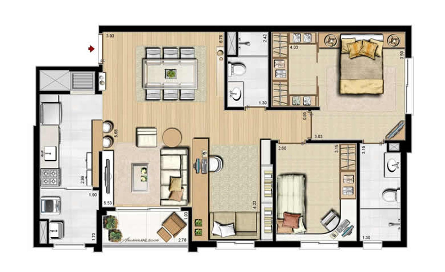 Opção 2 dormitórios, sendo 1 suíte e living estendido - 84 m² privativos e 130 m² área total | Villa Mimosa Vita Insolaratta – Apartamento no  Centro - Canoas - Rio Grande do Sul