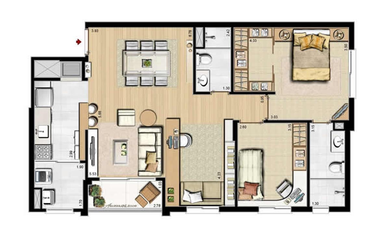 Opção 2 dormitórios, sendo 1 suíte e living estendido - 84 m² privativos e 130 m² área total | Villa Mimosa Vita Insolaratta – Apartamentono  Centro - Canoas - Rio Grande do Sul
