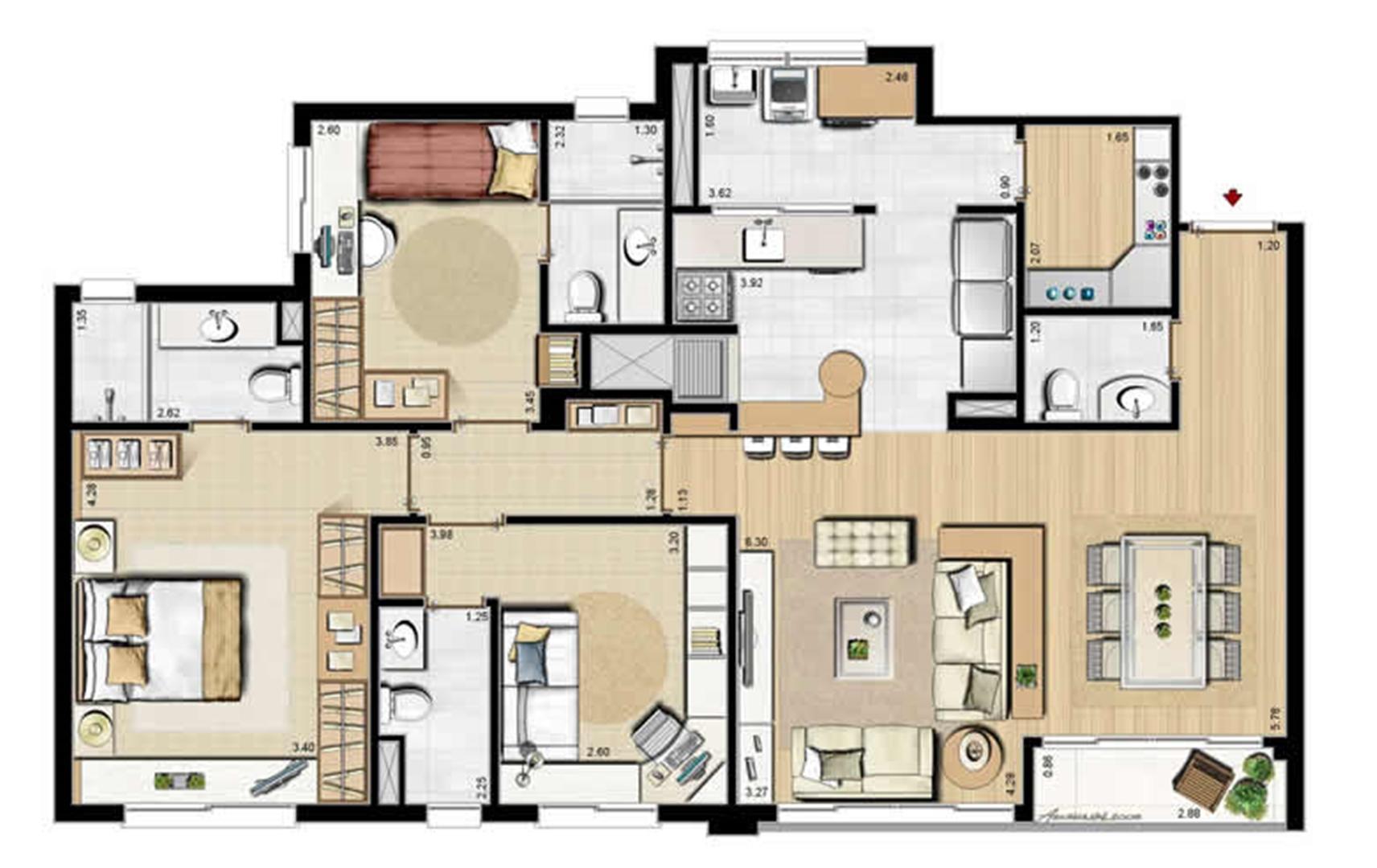 Opção 2 suítes, gabinete e despensa - 113 m² privativos e 175 m² área total | Villa Mimosa Vita Insolaratta – Apartamento no  Centro - Canoas - Rio Grande do Sul