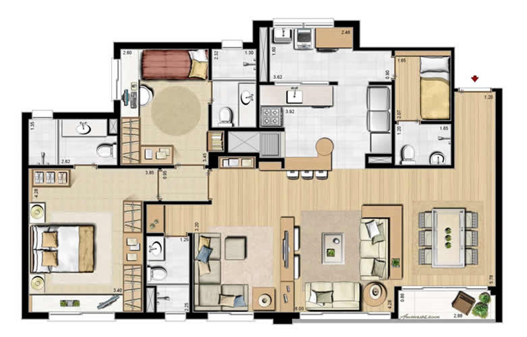 Opção 2 suítes, living estendido e dependência completa - 113 m² privativos e 175 m² área total | Villa Mimosa Vita Insolaratta – Apartamento no  Centro - Canoas - Rio Grande do Sul