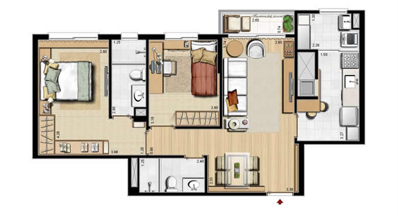 Opção cozinha fechada - 68 m² privativos e 105 m² área total | Villa Mimosa Vita Insolaratta – Apartamentono  Centro - Canoas - Rio Grande do Sul