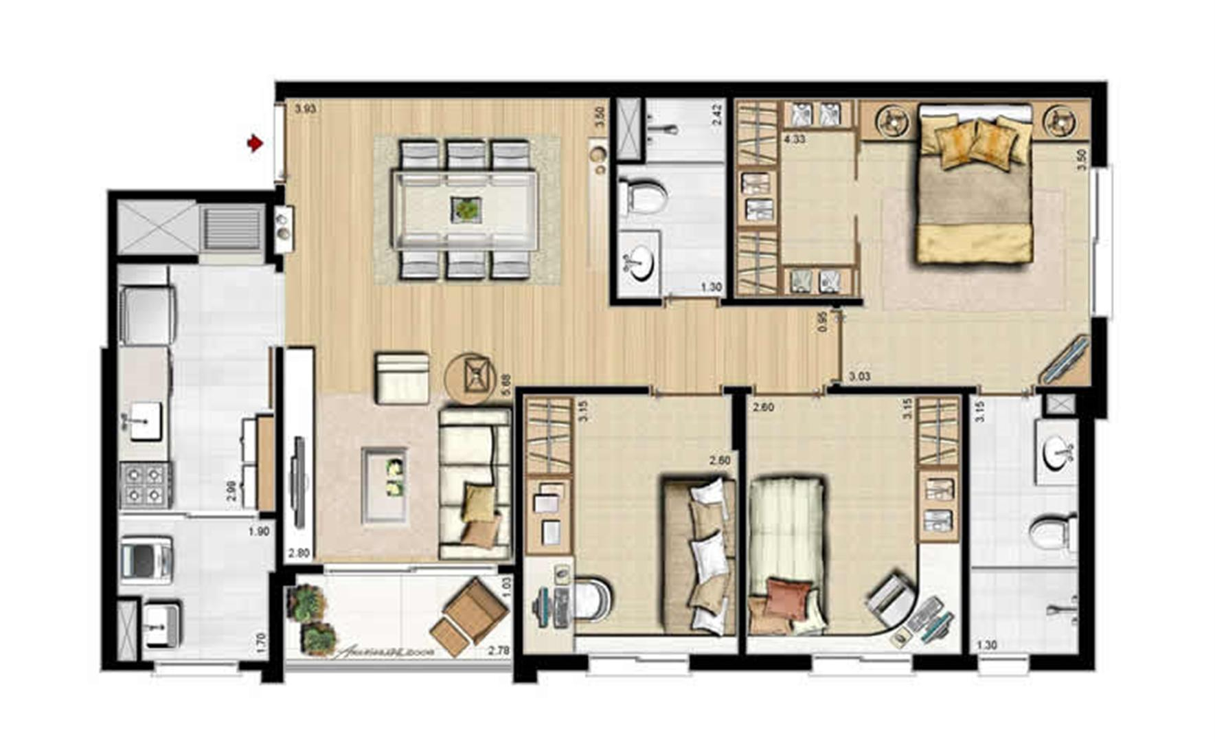 Opção cozinha fechada - 84 m² privativos e 130 m² área total | Villa Mimosa Vita Insolaratta – Apartamento no  Centro - Canoas - Rio Grande do Sul