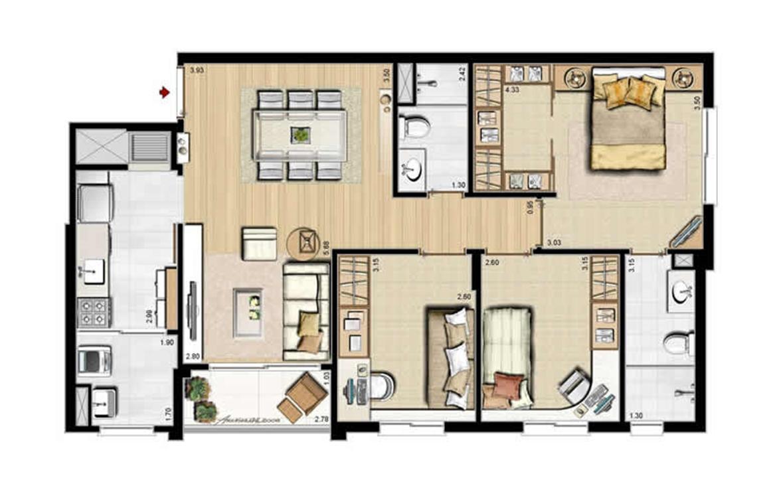Opção cozinha fechada - 84 m² privativos e 130 m² área total | Villa Mimosa Vita Insolaratta – Apartamentono  Centro - Canoas - Rio Grande do Sul