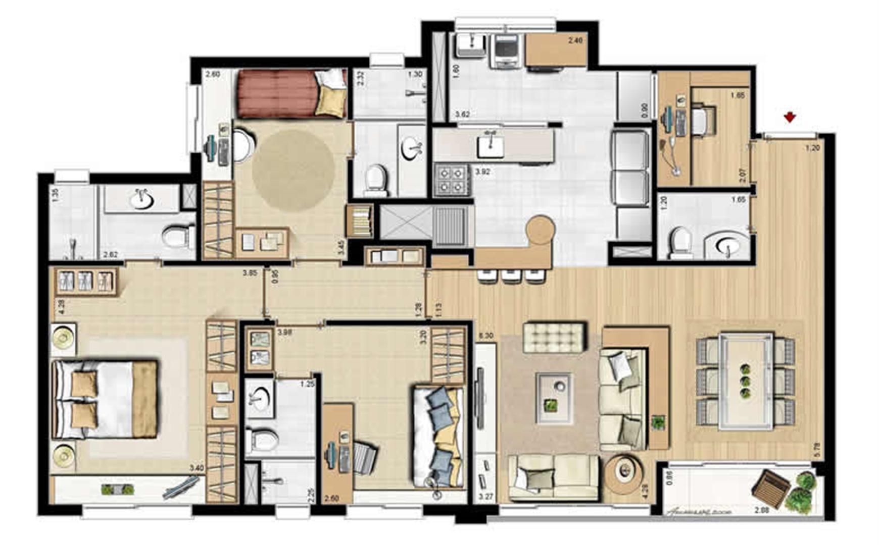 Opção dependência completa - 69 m² privativos e 107 m² área total | Villa Mimosa Vita Insolaratta – Apartamento no  Centro - Canoas - Rio Grande do Sul