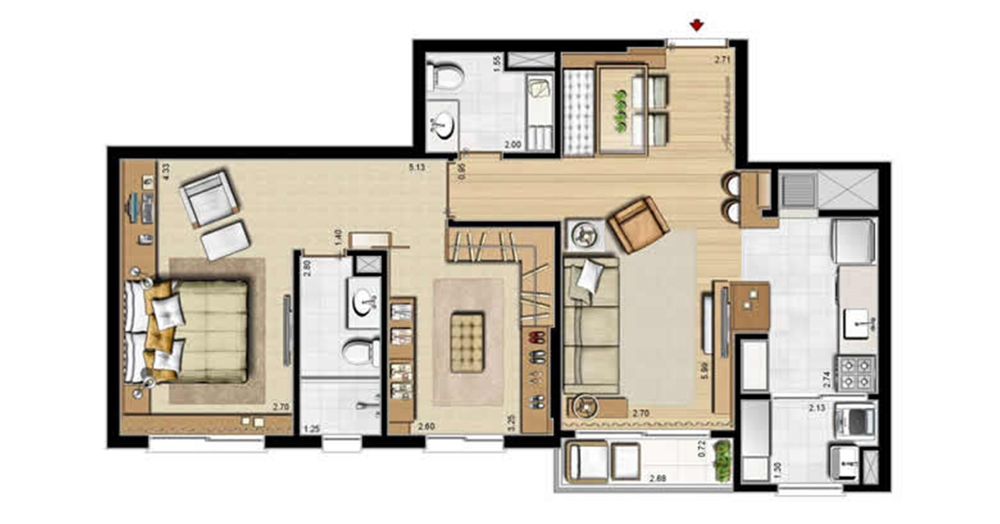 Opção suíte master e lavabo - 69 m² privativos e 107 m² área total | Villa Mimosa Vita Insolaratta – Apartamento no  Centro - Canoas - Rio Grande do Sul