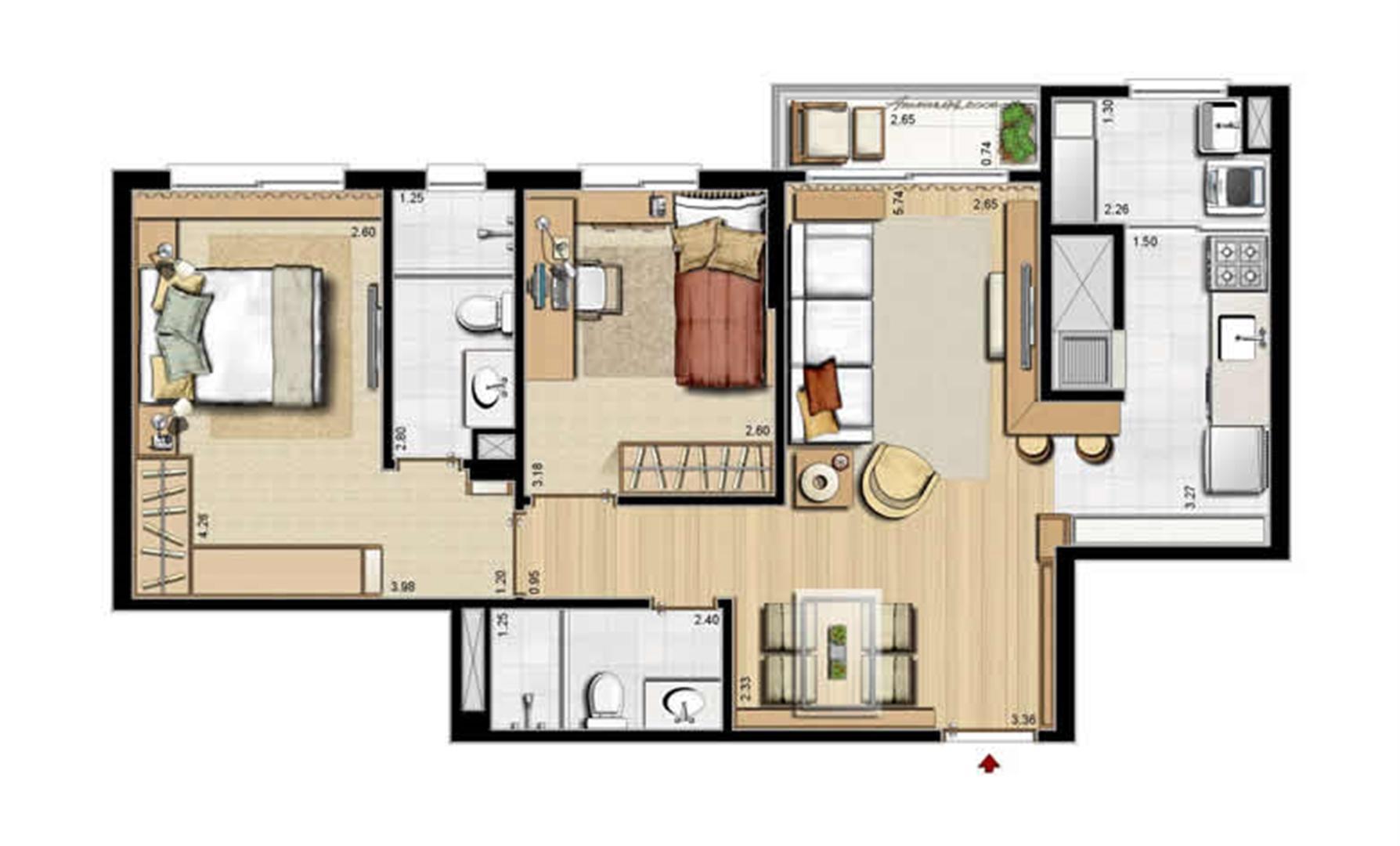 Planta padrão - 2 dormitórios, sendo 1 suíte - 68 m² privativos e 105 m² área total | Villa Mimosa Vita Insolaratta – Apartamento no  Centro - Canoas - Rio Grande do Sul