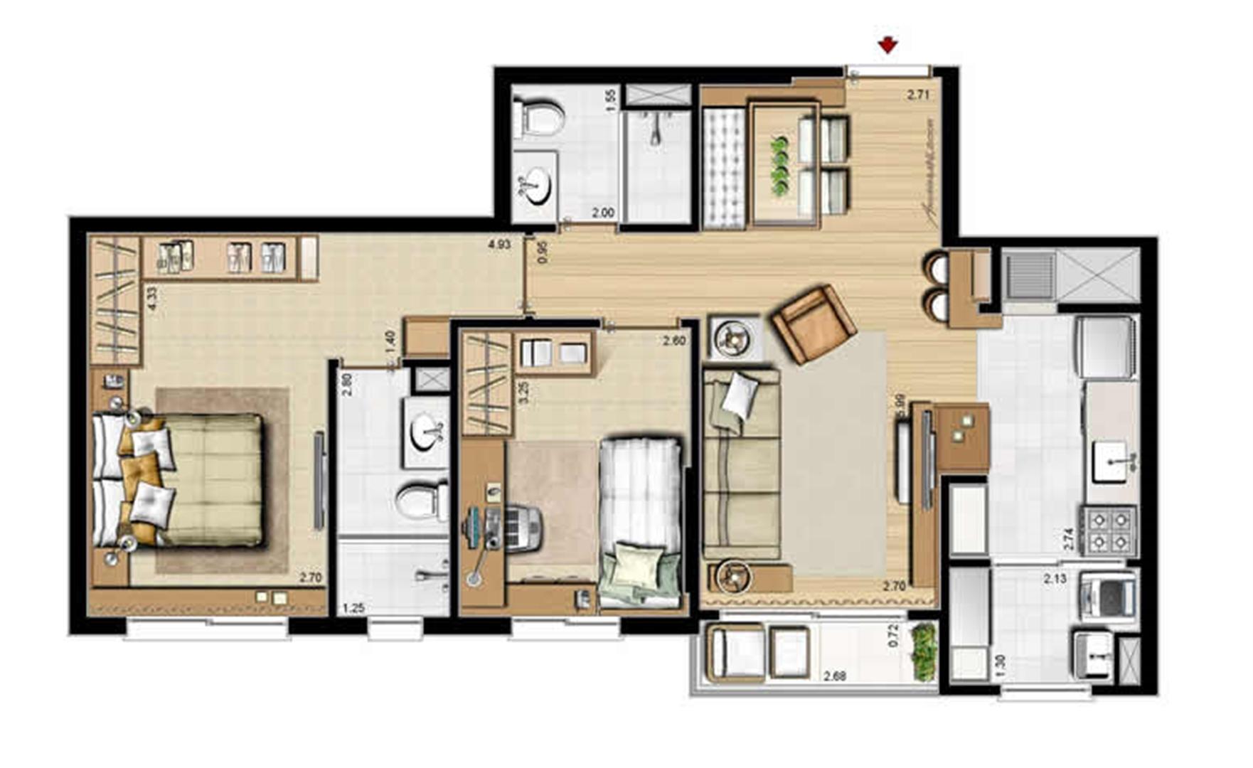 Planta padrão - 2 dormitórios, sendo 1 suíte - 69 m² privativos e 107 m² área total | Villa Mimosa Vita Insolaratta – Apartamento no  Centro - Canoas - Rio Grande do Sul
