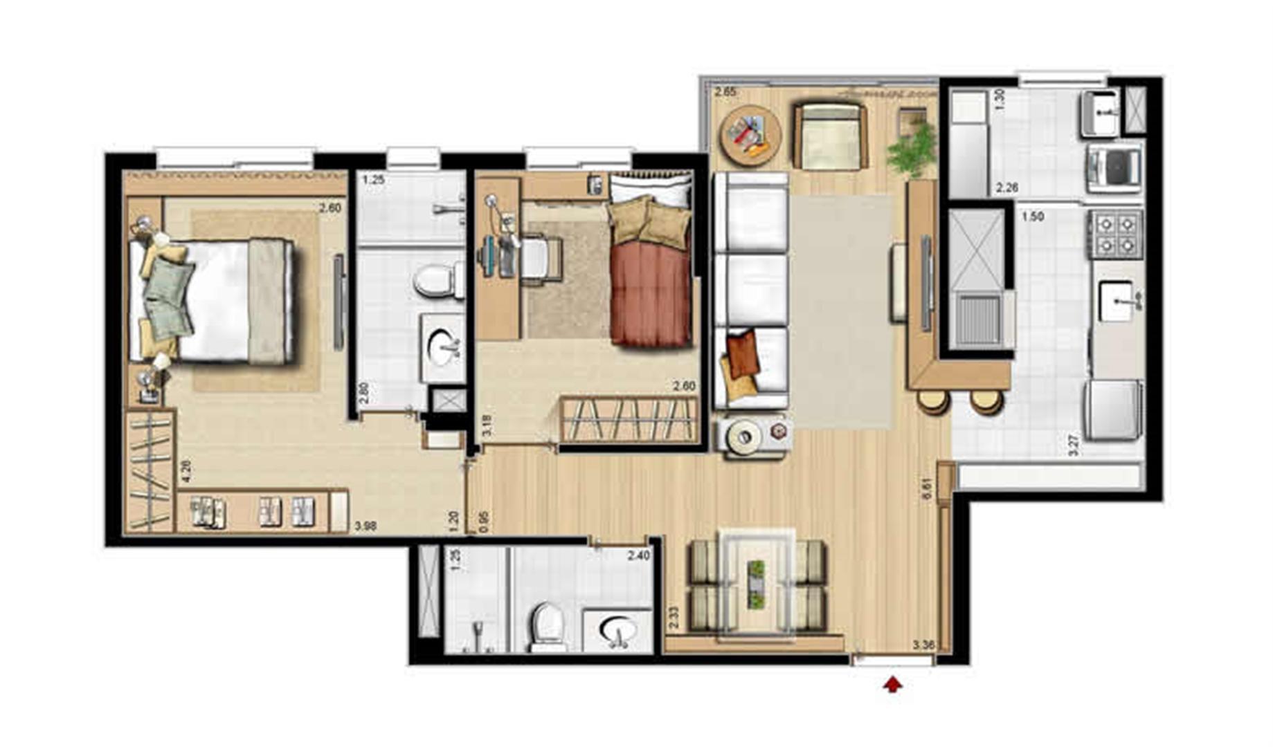 Sacada Integrada – Sugestão de Decoração - 68 m² privativos e 105 m² área total | Villa Mimosa Vita Insolaratta – Apartamento no  Centro - Canoas - Rio Grande do Sul