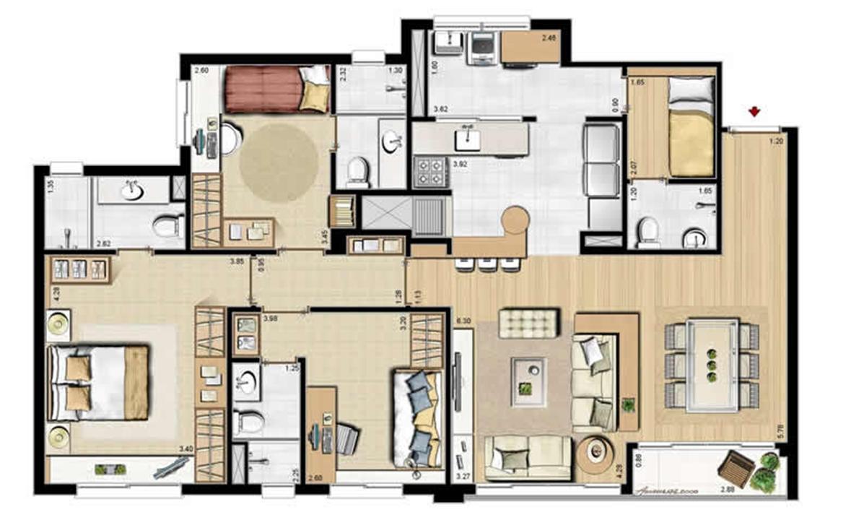 Sacada Integrada – Sugestão de Decoração - 113 m² privativos e 175 m² área total (2) | Villa Mimosa Vita Insolaratta – Apartamentono  Centro - Canoas - Rio Grande do Sul
