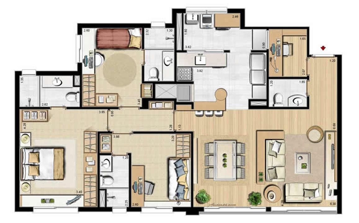 Sacada Integrada – Sugestão de Decoração - 113 m² privativos e 175 m² área total | Villa Mimosa Vita Insolaratta – Apartamentono  Centro - Canoas - Rio Grande do Sul