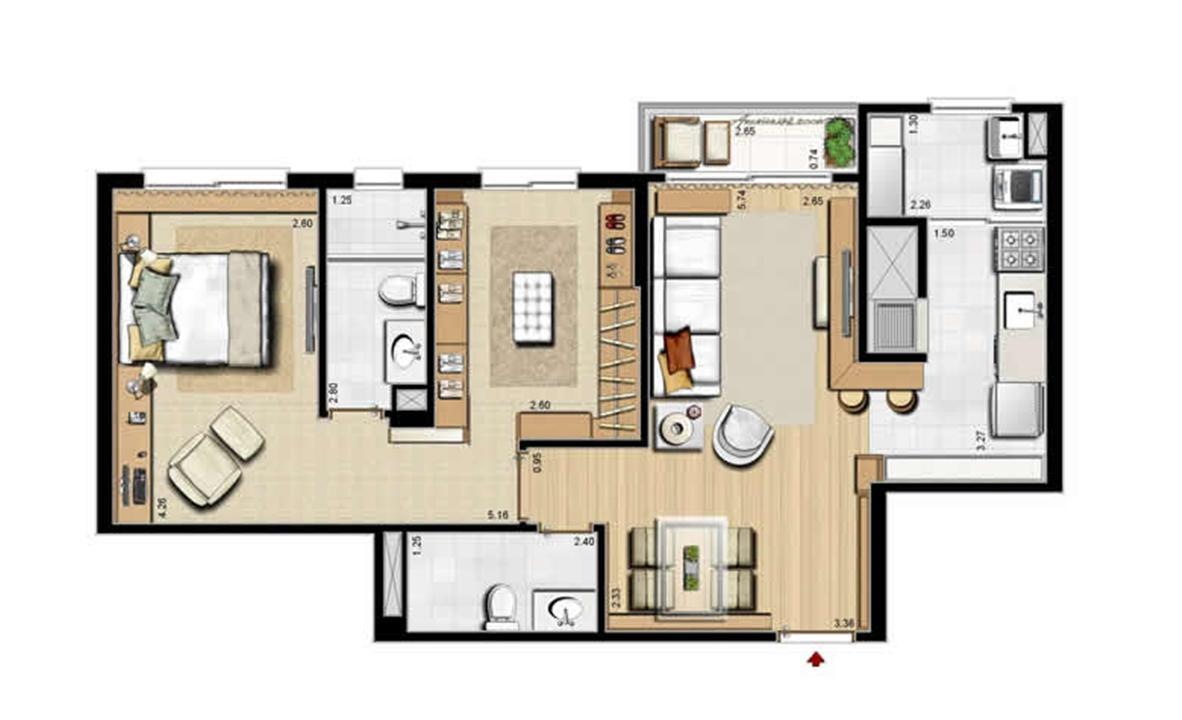 Opção suíte master e lavabo - 68 m² privativos e 105 m² área total | Villa Mimosa Vita Insolaratta – Apartamentono  Centro - Canoas - Rio Grande do Sul