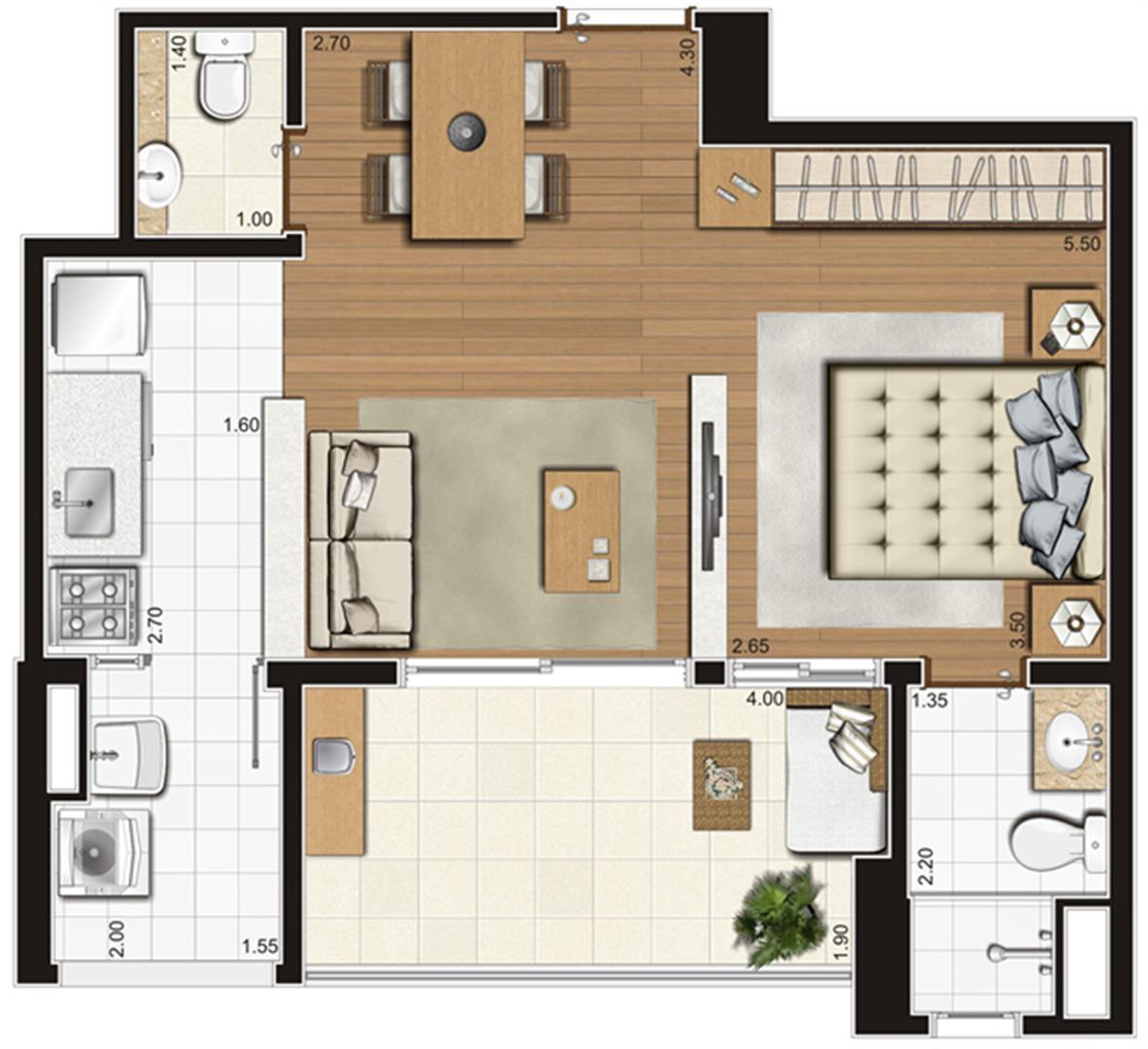 Planta-opção ilustrada do apartamento de 47 m² privativos, finais 3, 4, 7 e 8   Tempo Bello – Apartamento no  Campo Belo - São Paulo - São Paulo
