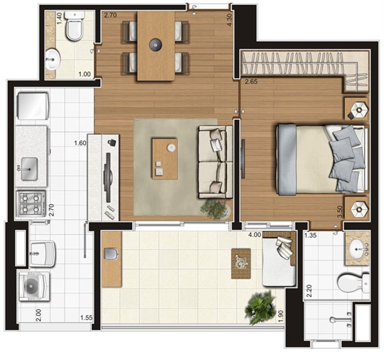Planta-tipo ilustrada do apartamento de 47 m² privativos, finais 3, 4, 7 e 8   Tempo Bello – Apartamentono  Campo Belo - São Paulo - São Paulo