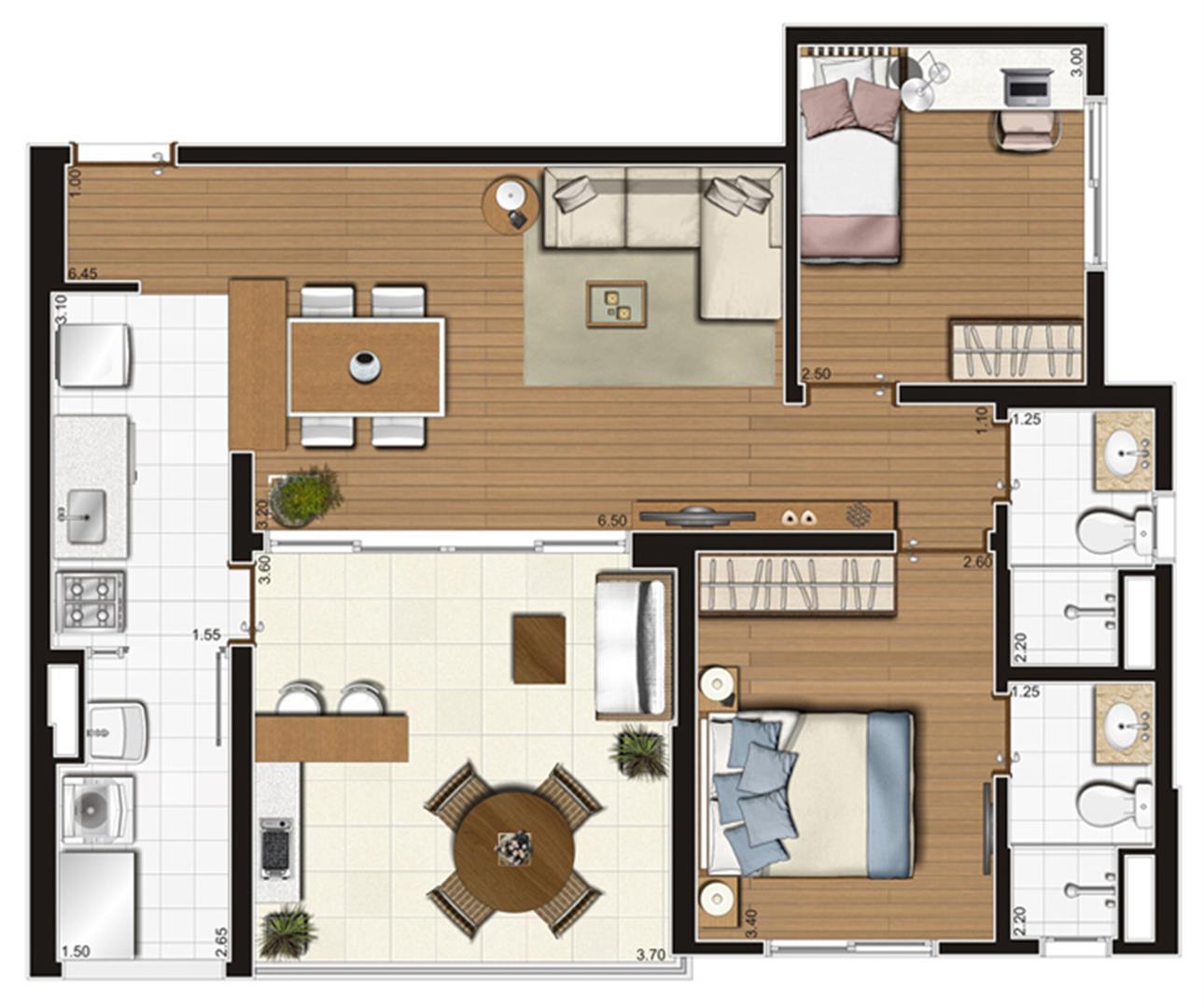 Planta-tipo ilustrada do apartamento de 73 m² privativos, finais 1 e 2   Tempo Bello – Apartamento no  Campo Belo - São Paulo - São Paulo