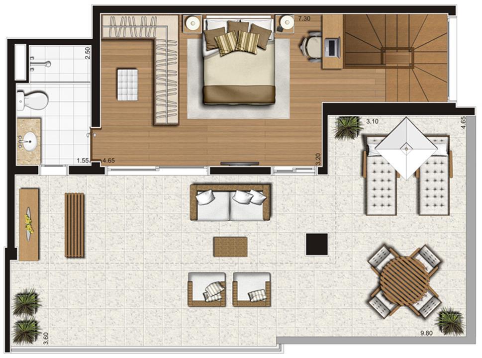 Planta-tipo ilustrada do pavimento inferior do apartamento duplex de 138 m² privativos, finais 1 e 2   Tempo Bello – Apartamentono  Campo Belo - São Paulo - São Paulo
