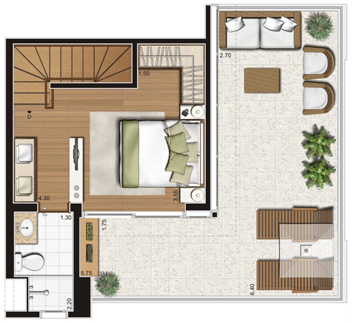 Planta-tipo do pavimento superior do apartamento duplex de 95 m² privativos, finais 5 e 10   Tempo Bello – Apartamento no  Campo Belo - São Paulo - São Paulo