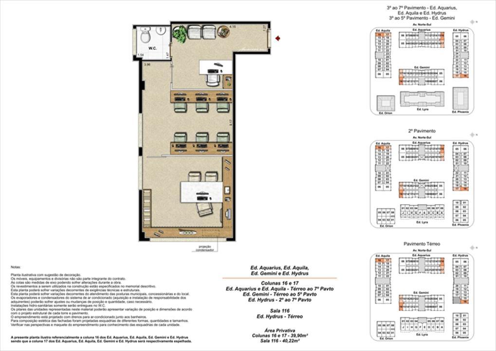 Planta ilustrativa com sugestão de decoração  (6) | Universe Empresarial – Salas Comerciaisna  Barra da Tijuca - Rio de Janeiro - Rio de Janeiro