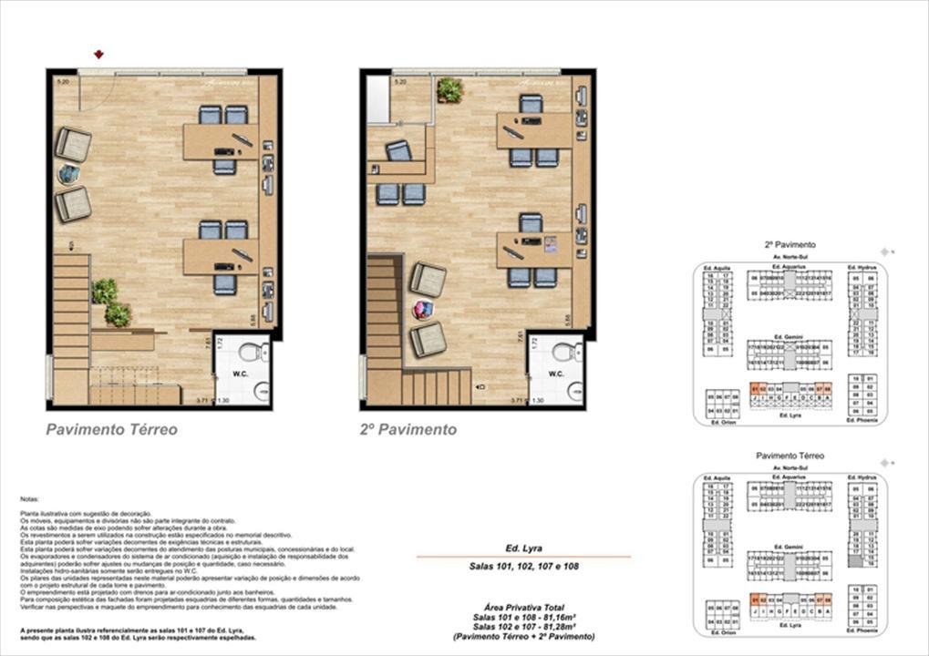 Planta ilustrativa com sugestão de decoração  (11) | Universe Empresarial – Salas Comerciaisna  Barra da Tijuca - Rio de Janeiro - Rio de Janeiro
