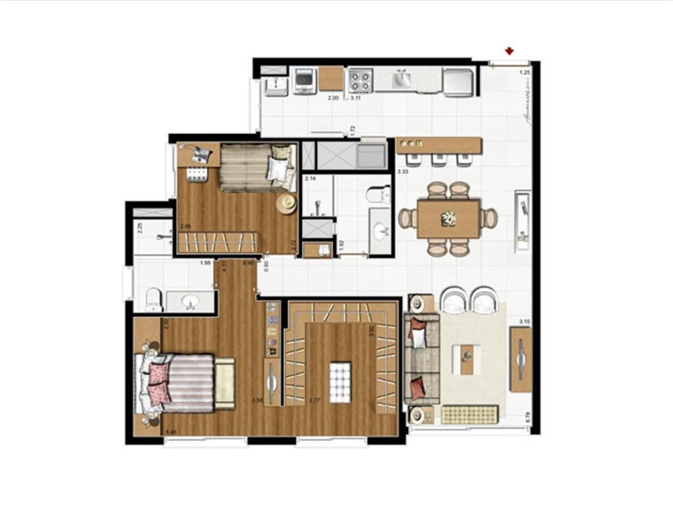 2 dorms. com suíte – Opção Suíte Master 87 m² privativos - 137 m² de  área total | Riserva Anita – Apartamentona  Boa Vista - Porto Alegre - Rio Grande do Sul
