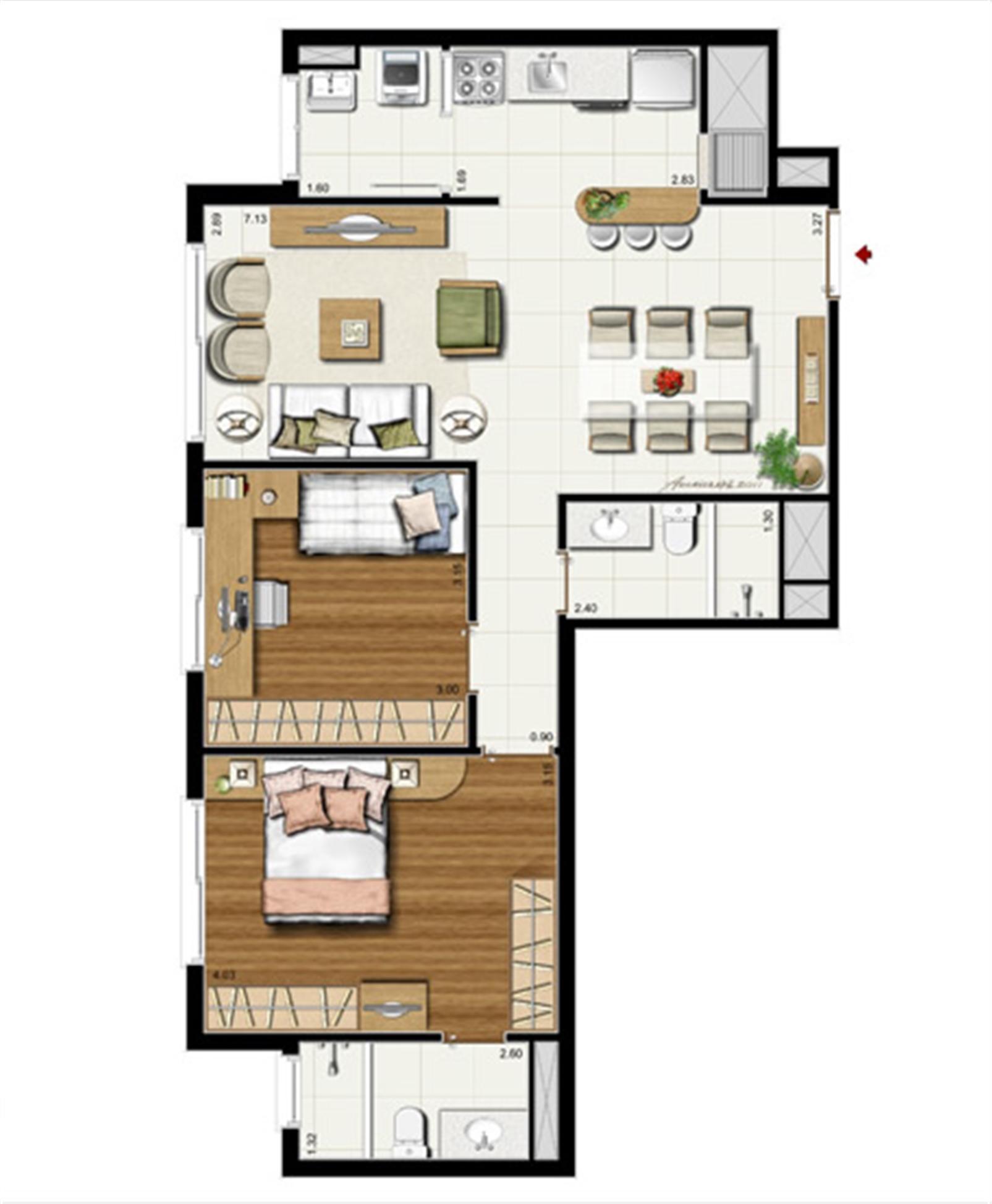 2 dorms. com suíte - Planta padrão 75 m² privativos - 118 m² de área total | Riserva Anita – Apartamentona  Boa Vista - Porto Alegre - Rio Grande do Sul