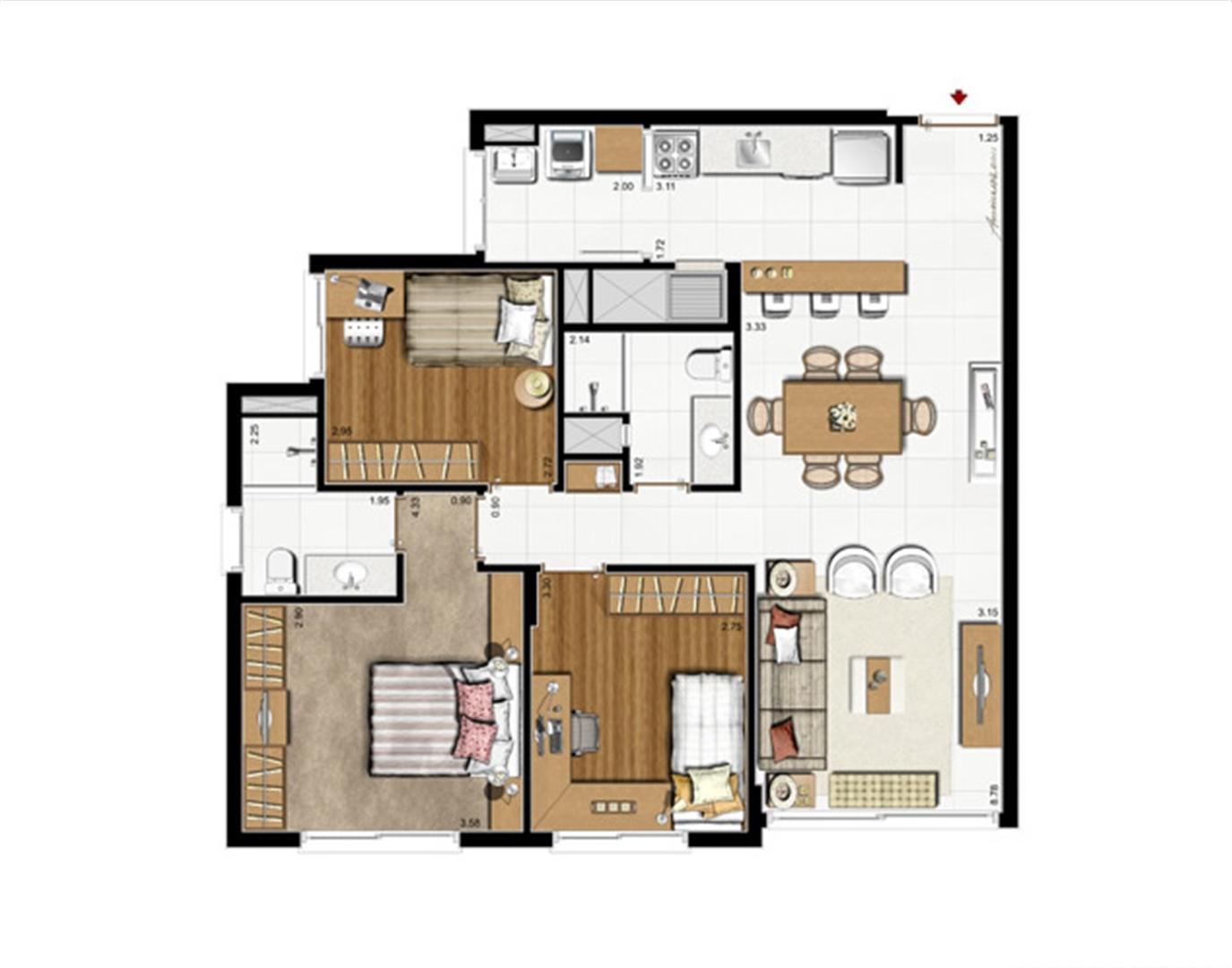 3 dorms. com suíte - Planta padrão 87 m² privativos - 137 m² de  área total | Riserva Anita – Apartamento na  Boa Vista - Porto Alegre - Rio Grande do Sul