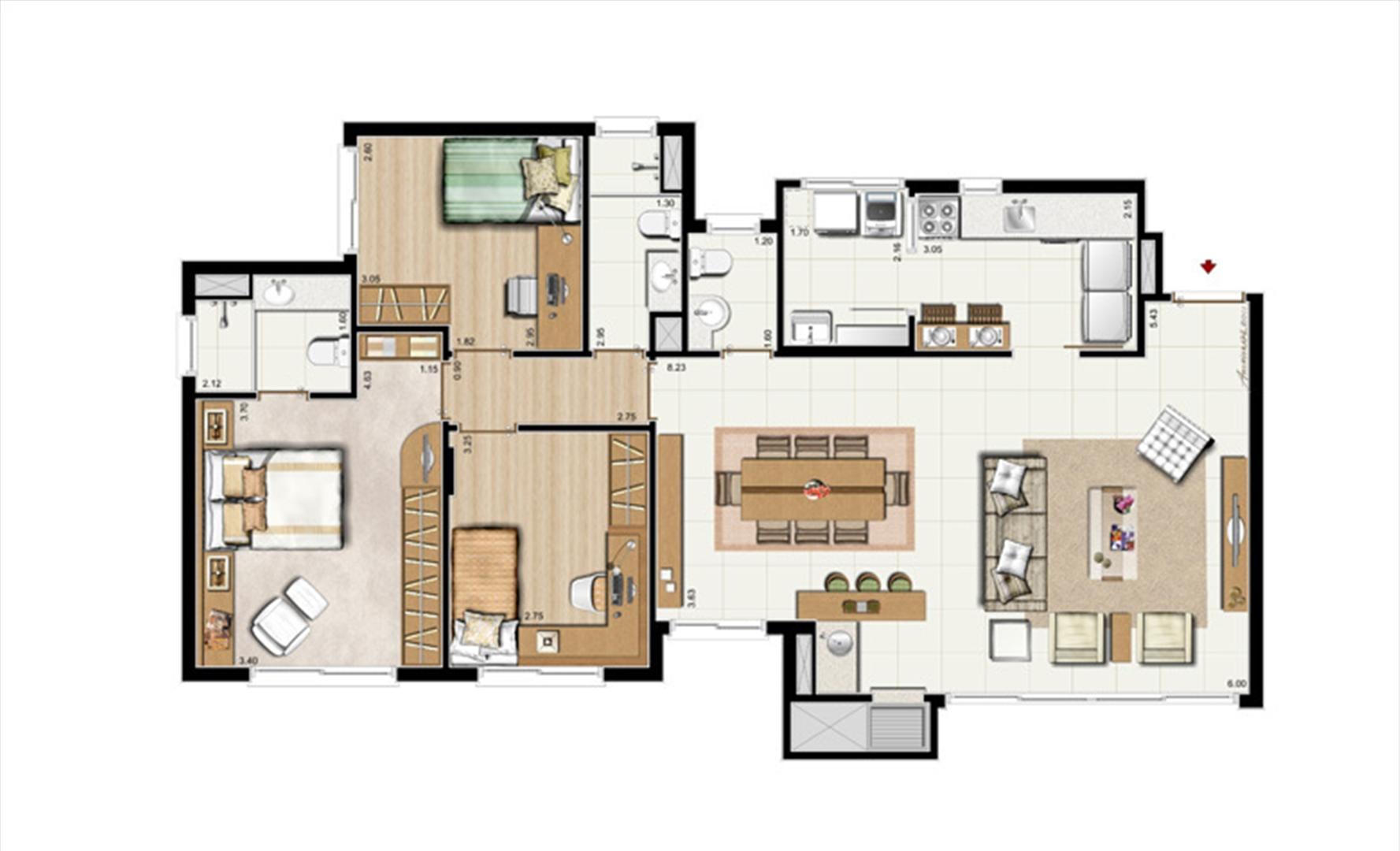 3 dorms. com suíte + Lavabo – Opção living estendido 107 m² privativos - 168 m² de área Total | Riserva Anita – Apartamento na  Boa Vista - Porto Alegre - Rio Grande do Sul