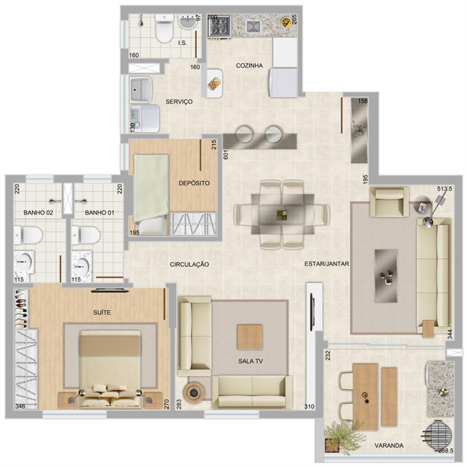 Perspectiva ilustrativa do apartamento tipo panorama | Condomínio Varandas da Serra – Apartamentona  Serra - Belo Horizonte - Minas Gerais